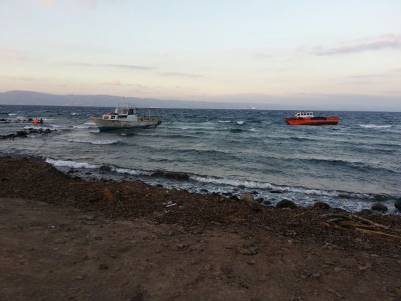 Boats off Lesbos
