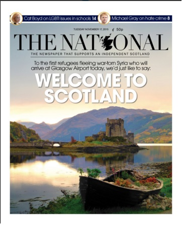 Front page of The National 17/11/15
