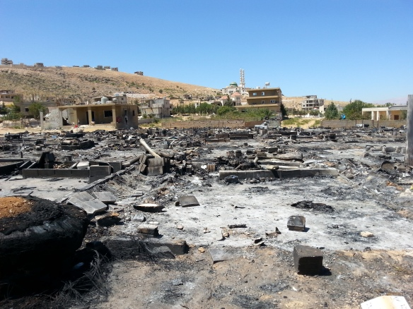 Syrian refugee camps laid to waste after ISIS invasion of Arsal, Lebanon (August 2014). Picture courtesy of Maggie Tookey