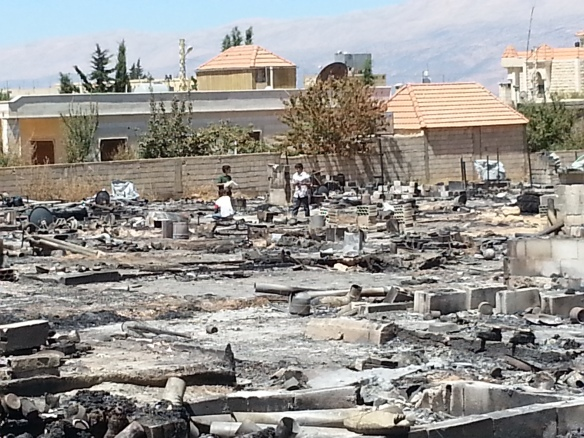 Burnt out camp in Arsal, Lebanon in August 2014. Picture courtesy of Maggie Tookey